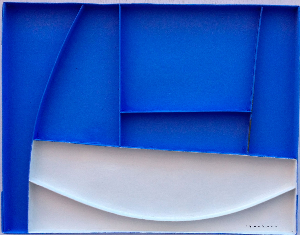 Azul Cadaqués - Collage de cartón-madera (50 x 60 cm)